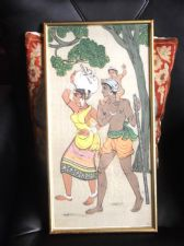 UNUSUAL GILT FRAMED GLAZED PAINTING ON SILK SIGNED MB ASIAN INDIAN FAMILY